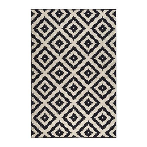 夏休みセール【IKEAイケア】LAPPLJUNG RUTA ラグ パイル短 200×300cm 【ホワイト/ブラック】05P04Jul15