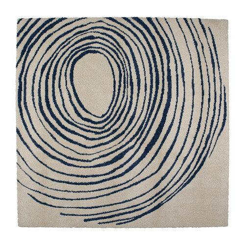 夏休みセール【IKEAイケア】EIVOR CIRKEL ラグ パイル長 200×200cm 【ホワイト/ブルー】05P04Jul15