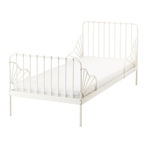 送料無料 IKEA イケア MINNEN 伸長式ベッドフレームとすのこ(組み合わせ) ホワイト 成長に合わせて長く使える!