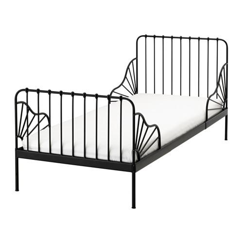 送料無料 IKEA イケア MINNEN 伸長式ベッドフレームとすのこ(組み合わせ) ブラック 成長に合わせて長く使える!