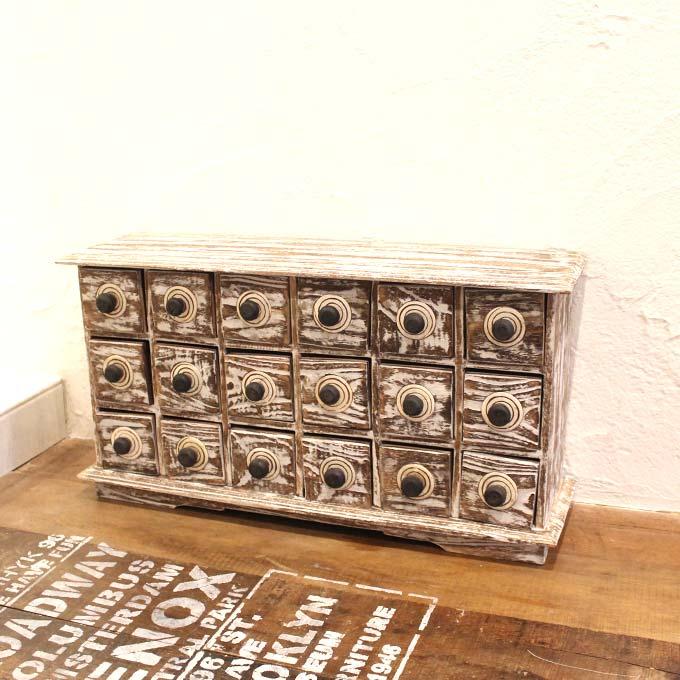 小物 収納 引き出しいっぱい 木製チェスト 卓上 整理 チェスト 家具 ホワイトアンティーク 木製 天然木 無垢 バリ家具 アジアン家具