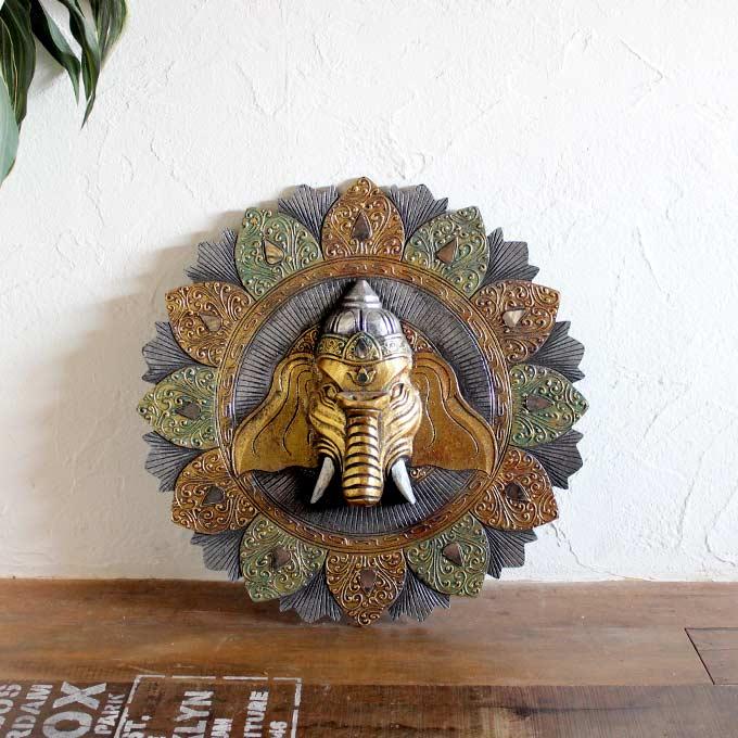 象の神様 ガネーシャの壁飾り 立体アート ゴールド W60cm バリ島 インテリア オブジェ