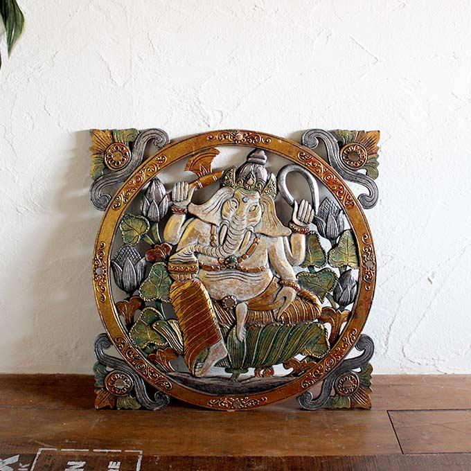 ガネーシャ 壁飾り 壁掛け オブジェ レリーフ ホワイト W60 バリ島 インテリアオブジェ
