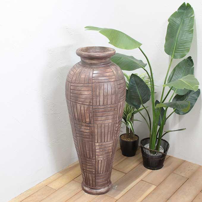 花瓶 壺 フラワーベース H100cm アンティーク モダン バリ アジアン インテリア オブジェ