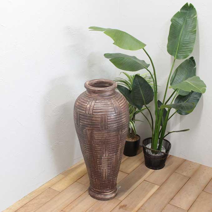 花瓶 壺 フラワーベース H80cm アンティーク モダン バリ アジアン インテリア オブジェ