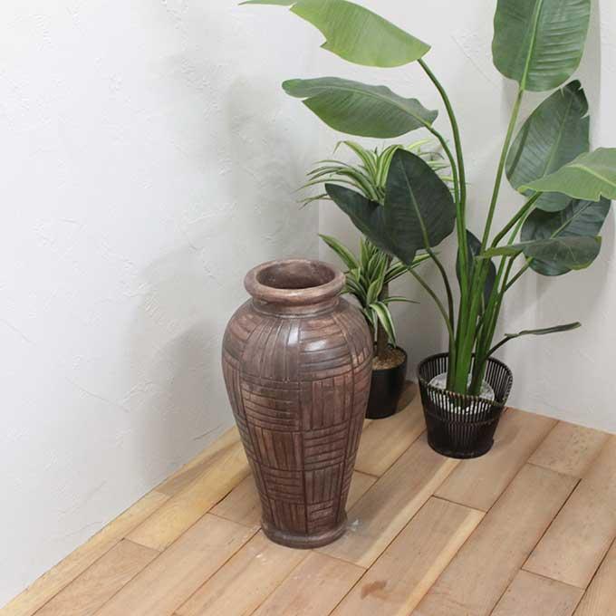 花瓶 壺 フラワーベース H60cm アンティーク モダン バリ アジアン インテリア オブジェ
