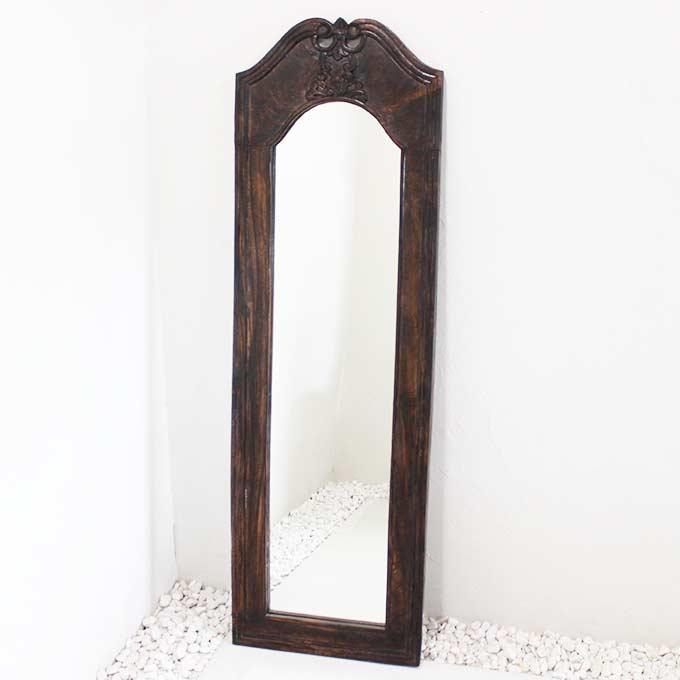 姿見 ミラー 鏡 バリ風 彫刻フレーム 160×50