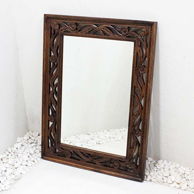 壁掛け ミラー 鏡 バリ風 彫刻フレーム ドレッサーサイズ 80×60