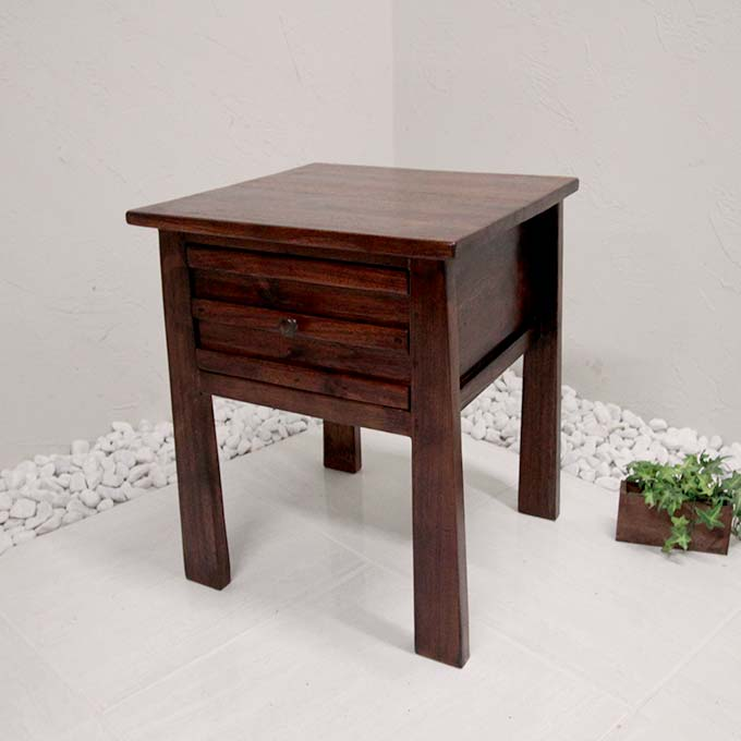 おしゃれ バリ風 サイドチェスト サードテーブル 高級チーク家具
