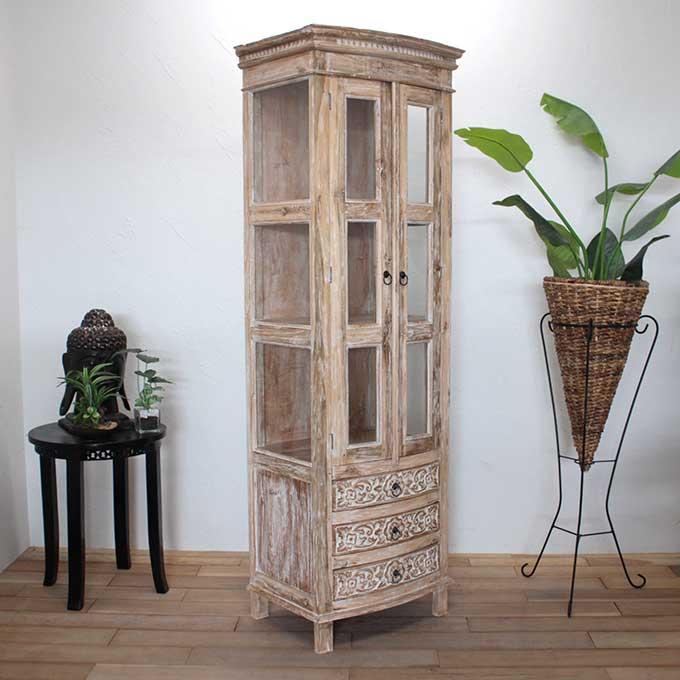キャビネット 飾り棚 収納棚 ホワイトアッシュの個性的な家具