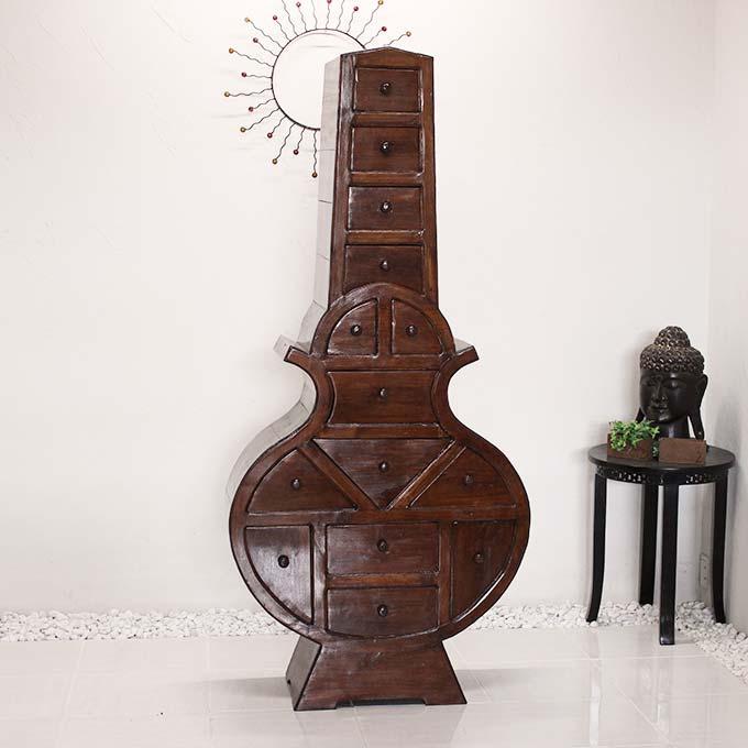 ギター型 キャビネット H184×W85 高級 チーク家具