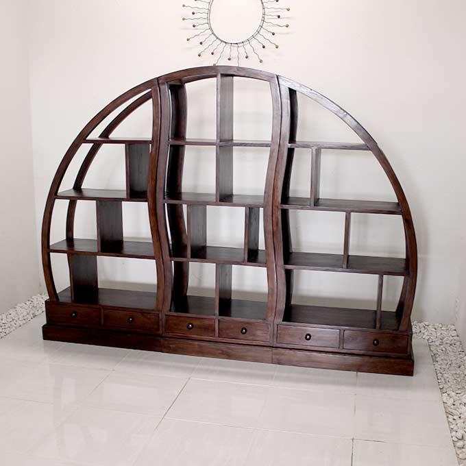 ディスプレイシェルフ ラック H150×W208 個性的な バリ風家具