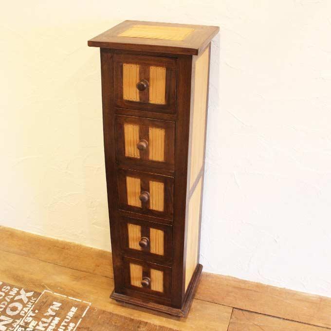 アジアン チェスト H106×W29 チークandバンブーのバリ家具