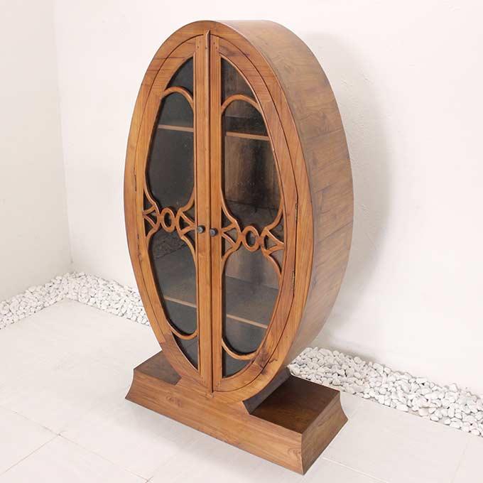 キャビネット 飾り棚 収納棚 H135×W75 バリ風 チーク家具