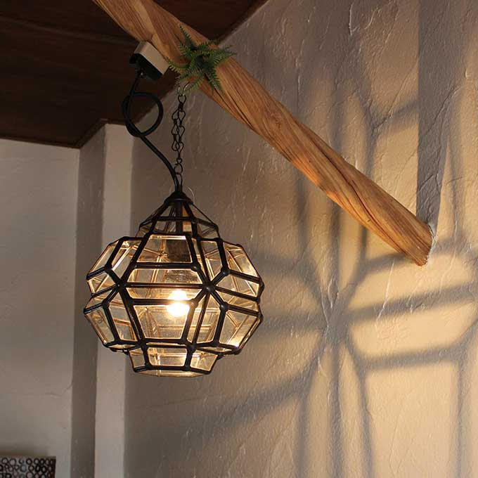 ガラスとアイアンの吊り下げランプ 天井ライト 照明 H30cm