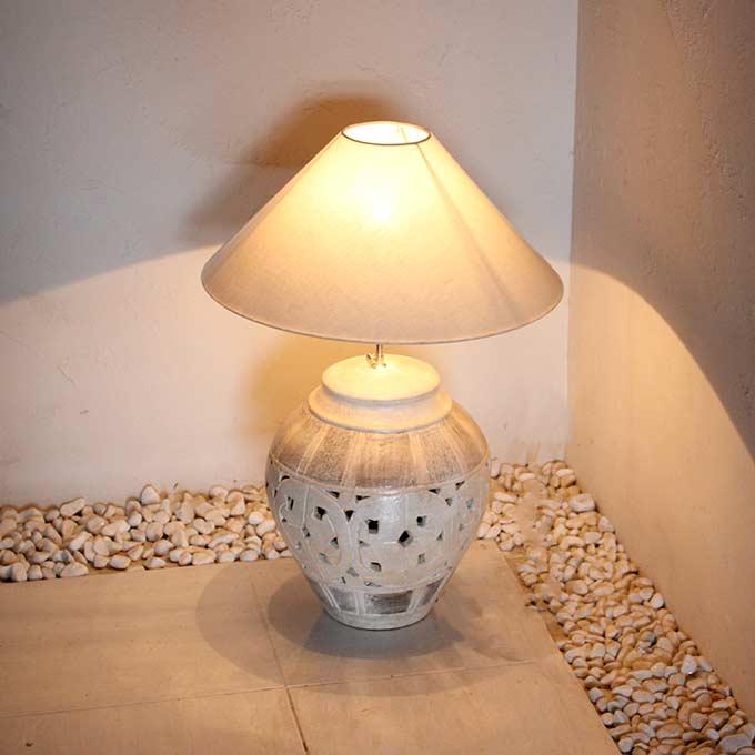 陶器のテーブルランプ アジアン ライト 照明 フロアスタンドライト H60cm