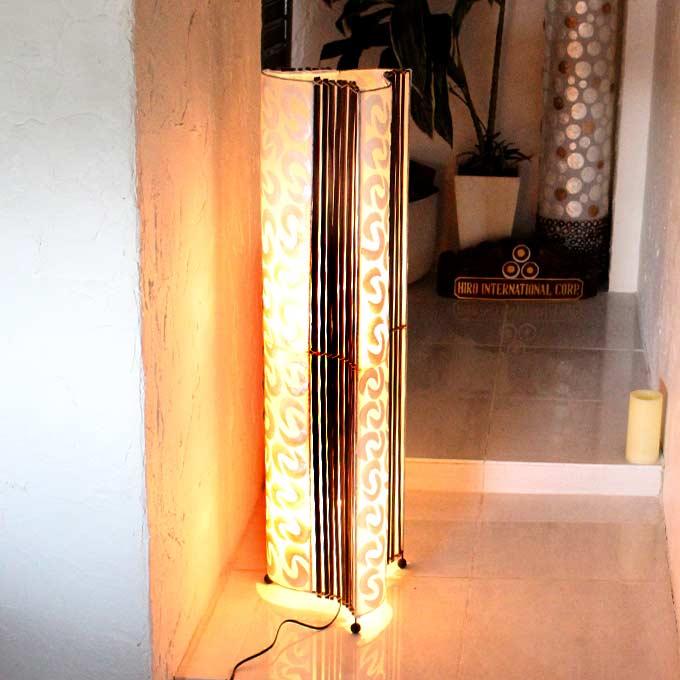 カピス貝とバンブー アジアン ライト 照明 フロアスタンドライト H100cm