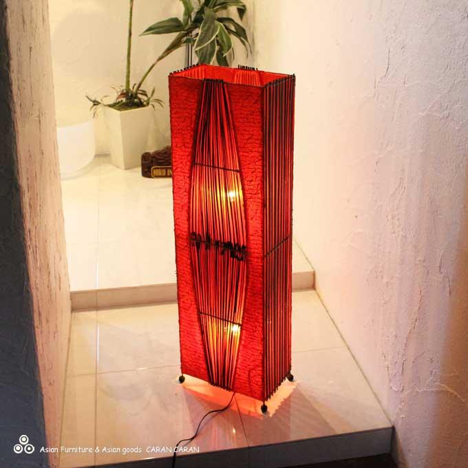 バンブーとコットン アジアン ライト 照明 フロアスタンドライト H100cm