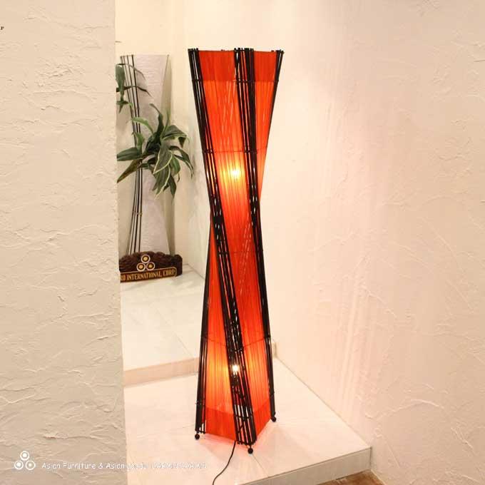 スタンドライト フロアライト フロアランプ 照明 間接照明 コットン バンブー アジアンライト オレンジ H150cm