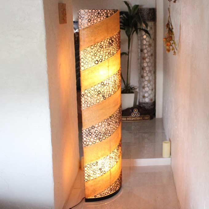 和室にも合う和紙風のスタンド フロアライト H150cm アジアン ランプ 照明 インテリアライト