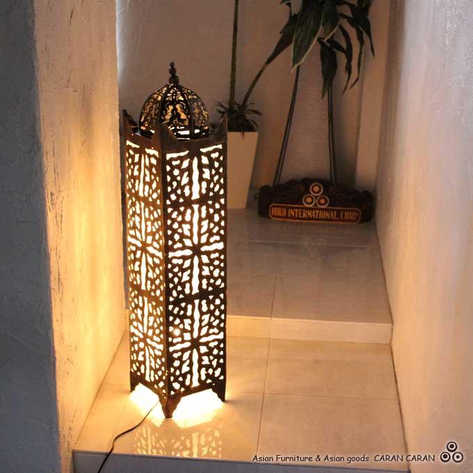 エスニック模様 アジアン ライト 照明 フロアスタンドライト H100cm