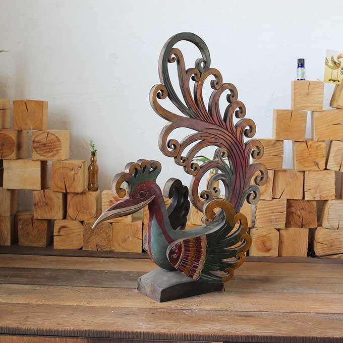【送料無料】 アンティーク風 鳥の置物 鳥 オブジェ おしゃれ インテリア 木製 置物 バリ アジアン 大きい