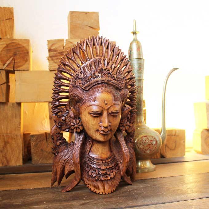 バリニーズの置物 木の彫刻 H30cm バリ島 アジアン インテリア オブジェ