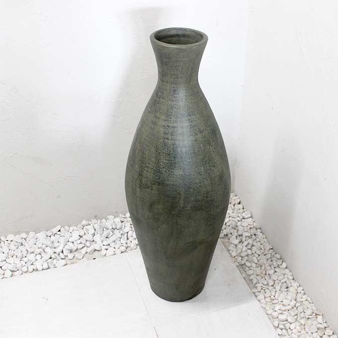 花瓶 壺 フラワーベース グレー H100cm モダン バリ アジアン インテリア オブジェ