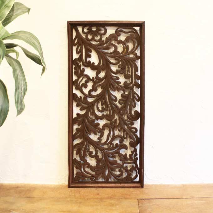 レリーフ アジアン 彫刻 99×49cm バリ風 壁飾り インテリア