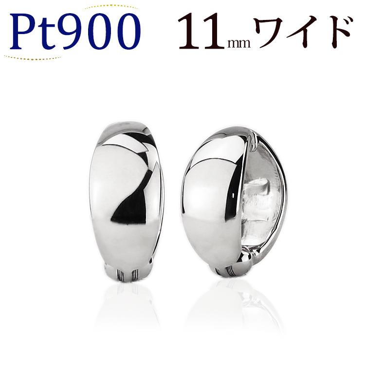プラチナ/Ptフープイヤリング(ピアリング)(11mmワイド)(ej0003pt)