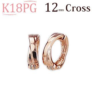 K18PGピンクゴールド/フープイヤリング(ピアリング)(12mm Cross)(18金 18k)(ej0007pg)