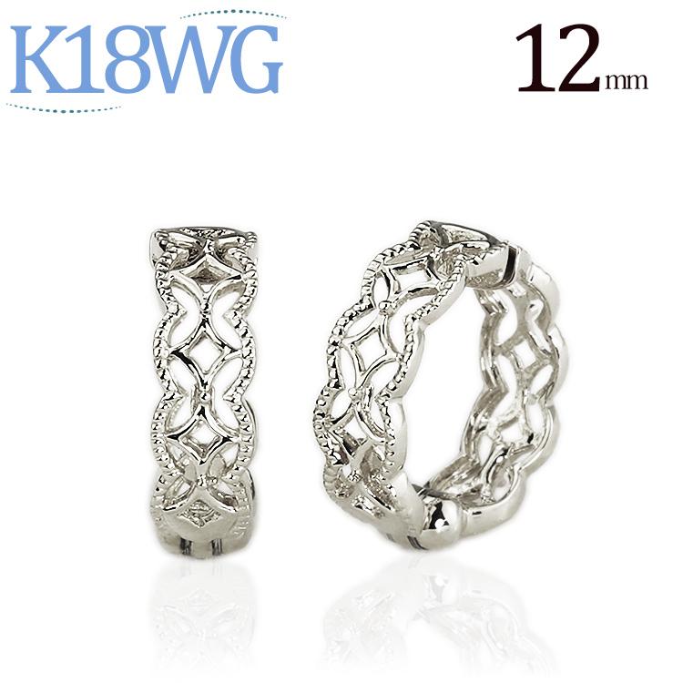 K18WGホワイトゴールド/フープイヤリング(ピアリング)(12mm)(18金 18k)(ej0009wg)