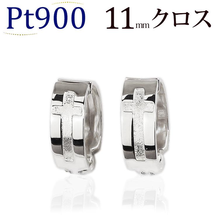 プラチナ/Ptフープイヤリング(ピアリング)(11mmクロス)(ej0010pt)