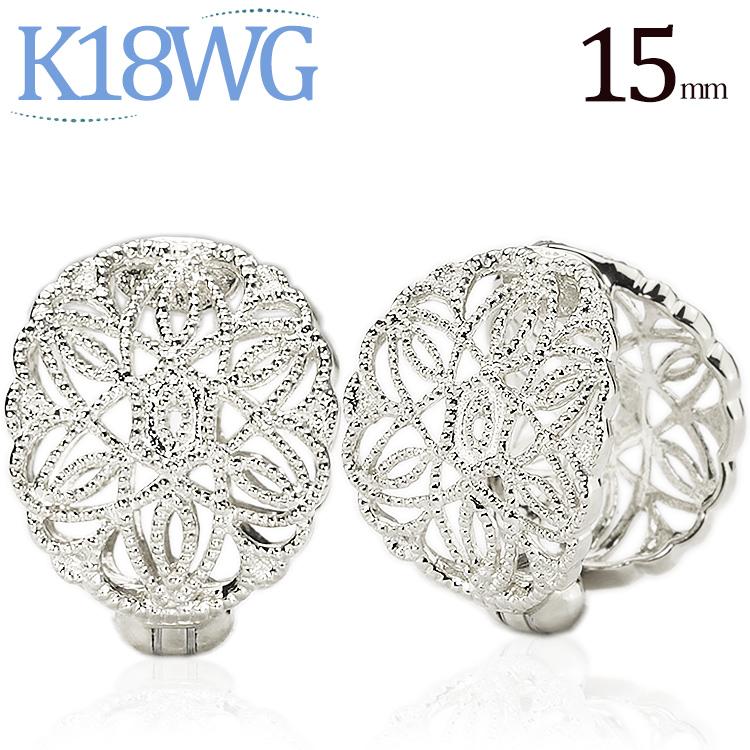 K18WGホワイトゴールド/フープイヤリング(ピアリング)(15.5mm)(18金 18k)(ej0022wg)