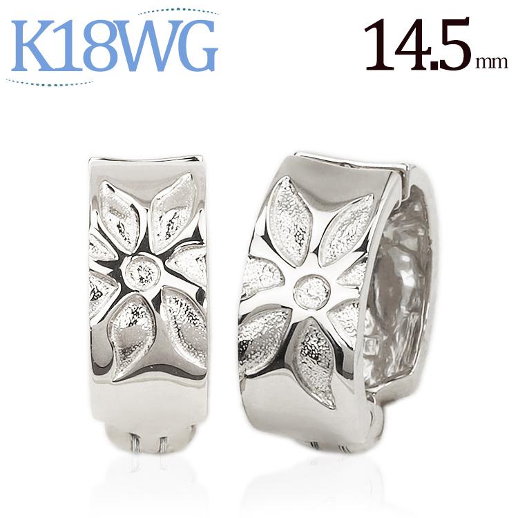 K18ホワイトゴールド/フープイヤリング(ピアリング)(14.5mm)(18金 18k)(ej0024wg)