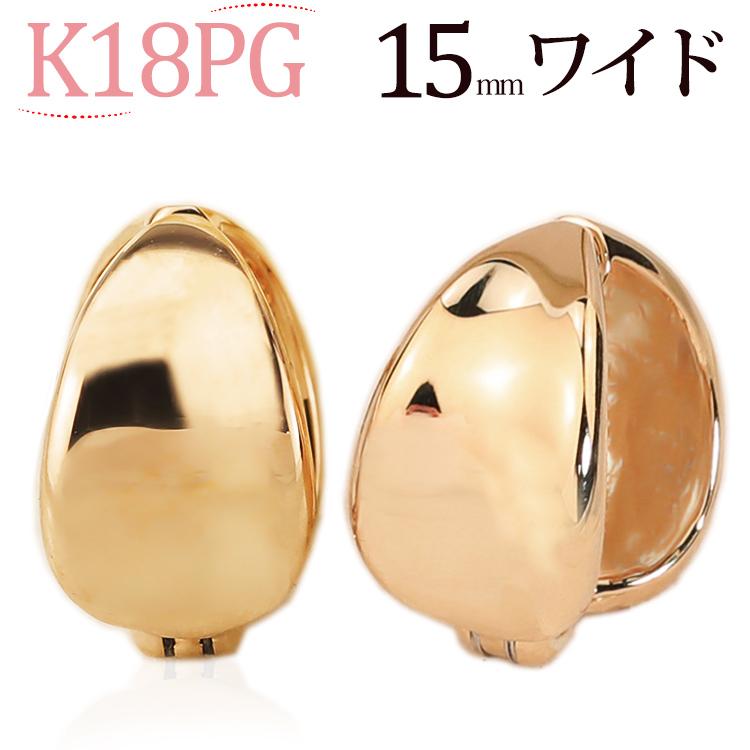 K18PGピンクゴールド/フープイヤリング ピアリング(14.5mmワイド)(18金 18k)(ej0030pg)