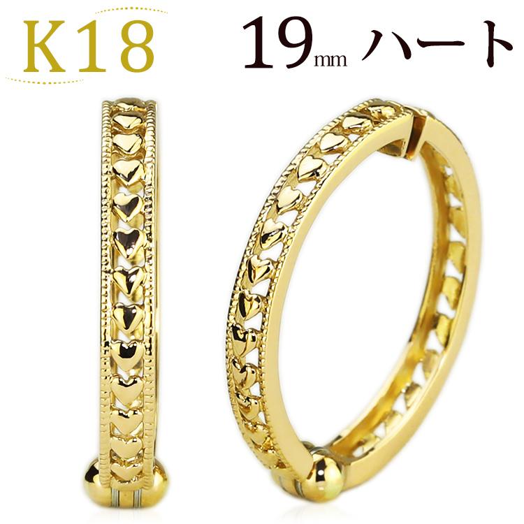 K18フープイヤリング ピアリング(18.5mmラウンド、ハート)(18金 18k ゴールド製)(ej0039k)