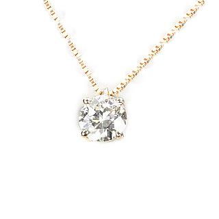 0.769ct Jカラー VS2 Poorピンクゴールドダイヤモンドネックレス【中央宝石研究所ソーティング付き】