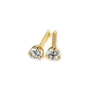K18ダイヤモンドピアス(2.5mmラウンド、3本爪)(ダイヤ0.09ctUP)(sd1988)