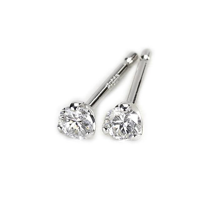 プラチナ(Pt900)ダイヤモンドピアス(2.5mmラウンド、3本爪、ダイヤ0.12ctUP)(sd2080)