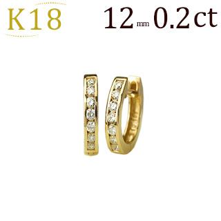 K18 中折れ式 ハーフエタニティ ダイヤ フープピアス (ダイヤモンド 0.2ct、12mm)(18k 18金製 ピアス フープ)(sb0050k)