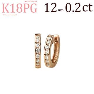 K18ピンクゴールド中折れ式ダイヤフープエタニティピアス(0.20ct)(12mm)(18金 18k PG製)(sb0050pg)