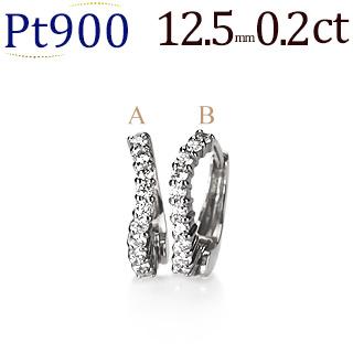 プラチナ中折れ式ダイヤフープピアス(0.20ct)(12.5mm)(sb0054pt)
