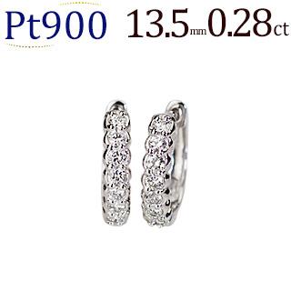 プラチナ中折れ式ダイヤフープピアス(0.28ct)(13.5mm)(sb0059pt)