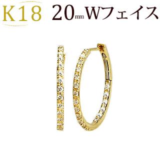 K18中折れ式ダブルフェイス ダイヤフープピアス(0.44ct)(20mm)(18k、18金製)(sb0060k)