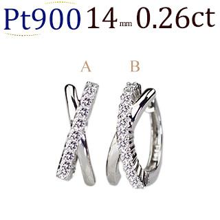 プラチナ中折れ式ダイヤフープピアス(0.26ctUP)(14mm)(sb0062pt)