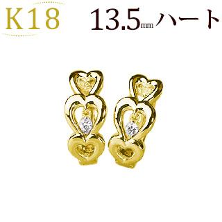 K18中折れ式ダイヤフープピアス(0.04ct)(13.5mm)(18k、18金製)(sb0081k)