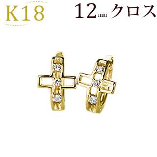 K18中折れ式ダイヤフープピアス(12mm)(18k、18金製)(sb0083k)
