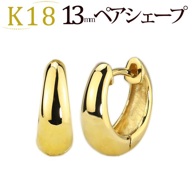 K18 pre-bent hoop earrings (made 13 mm ペアシェープ, Japan) (sap13k18)