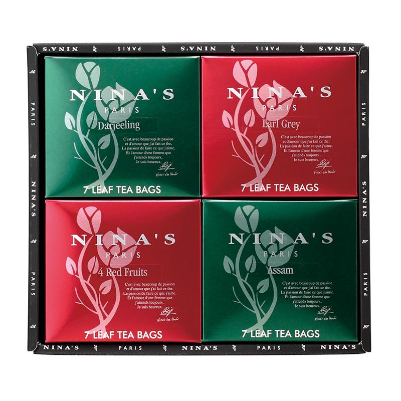 フランス生まれの紅茶 二ナス 着後レビューで 送料無料 メーカー在庫限り品 ギフト ニナス ティーバッグセット4箱 NS-K20B